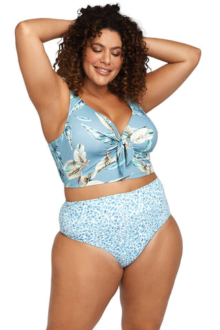 Artesands Seperates Tops Figaro Blue Cezanne Midriff Bikini Top Plus Size Curvy