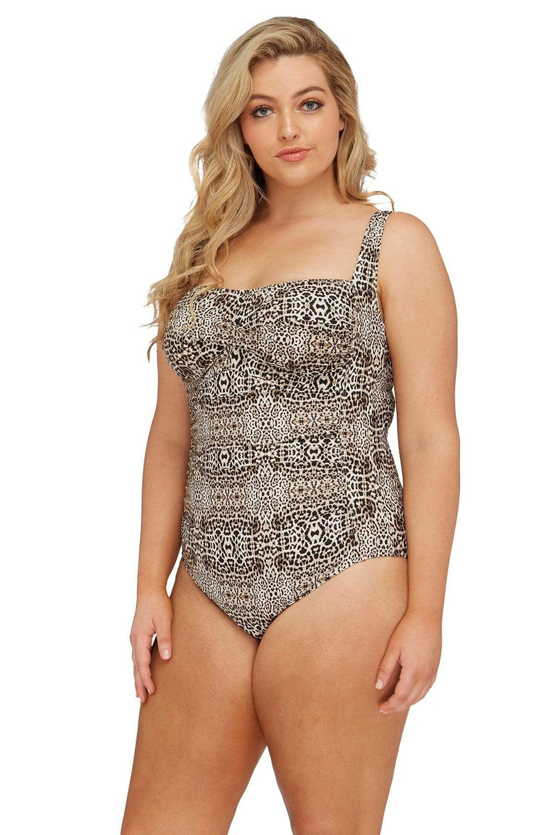 Artesands One Piece Leopard Botticelli Floating Underwire One Piece Plus Size Curvy