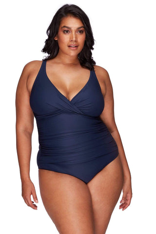 Artesands One Piece Navy Hues Delacroix One Piece AT1720P-14 Navy Plus Size Curvy