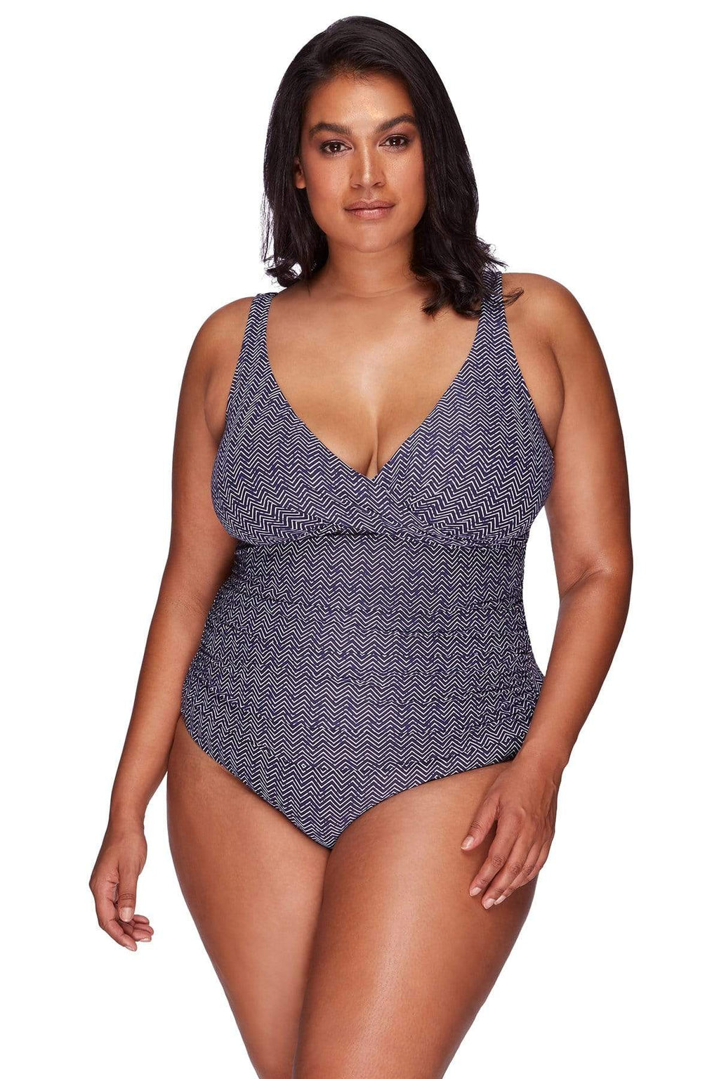Artesands One Piece Navy Zig Zag Delacroix One Piece AT1720ZZ-14 Navy Plus Size Curvy