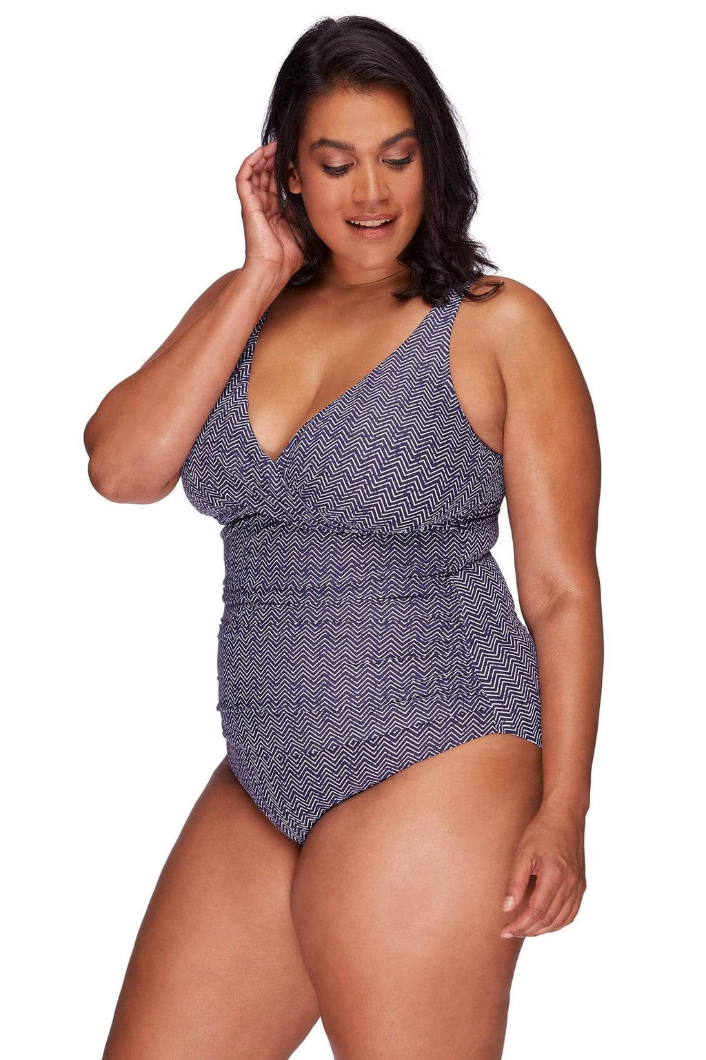 Artesands One Piece Navy Zig Zag Delacroix One Piece Plus Size Curvy