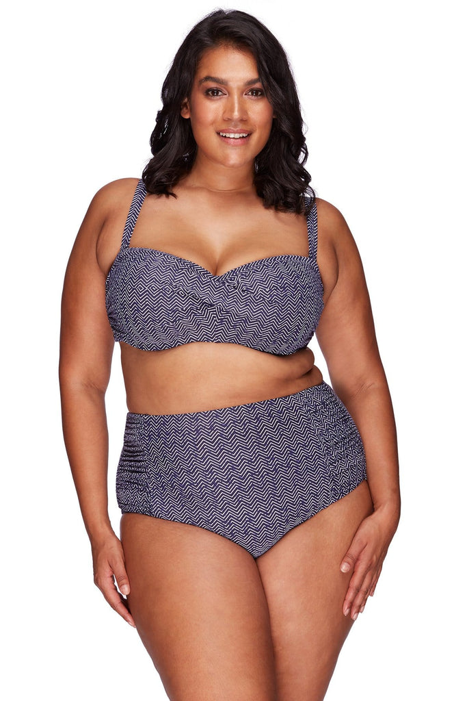Artesands Bottom Zig Zag Rouched Side High Waist Pant AT4705ZZ-14 Navy Plus Size Curvy