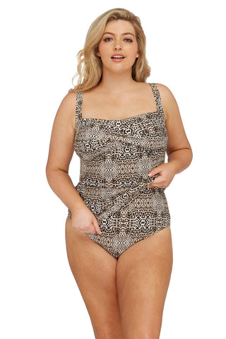 Artesands Plus Size Curvy Swimwear Leo'pard Tankini Top