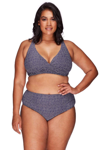 Artesands Plus Size Curvy Swimwear Zig Zag Navy Bikini Top AT3711ZZ-14 Navy