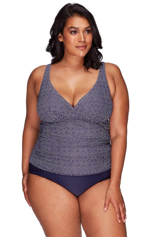 Artesands Plus Size Curvy Swimwear Zig Zag Navy Tankini Top AT3721ZZ-14 Navy