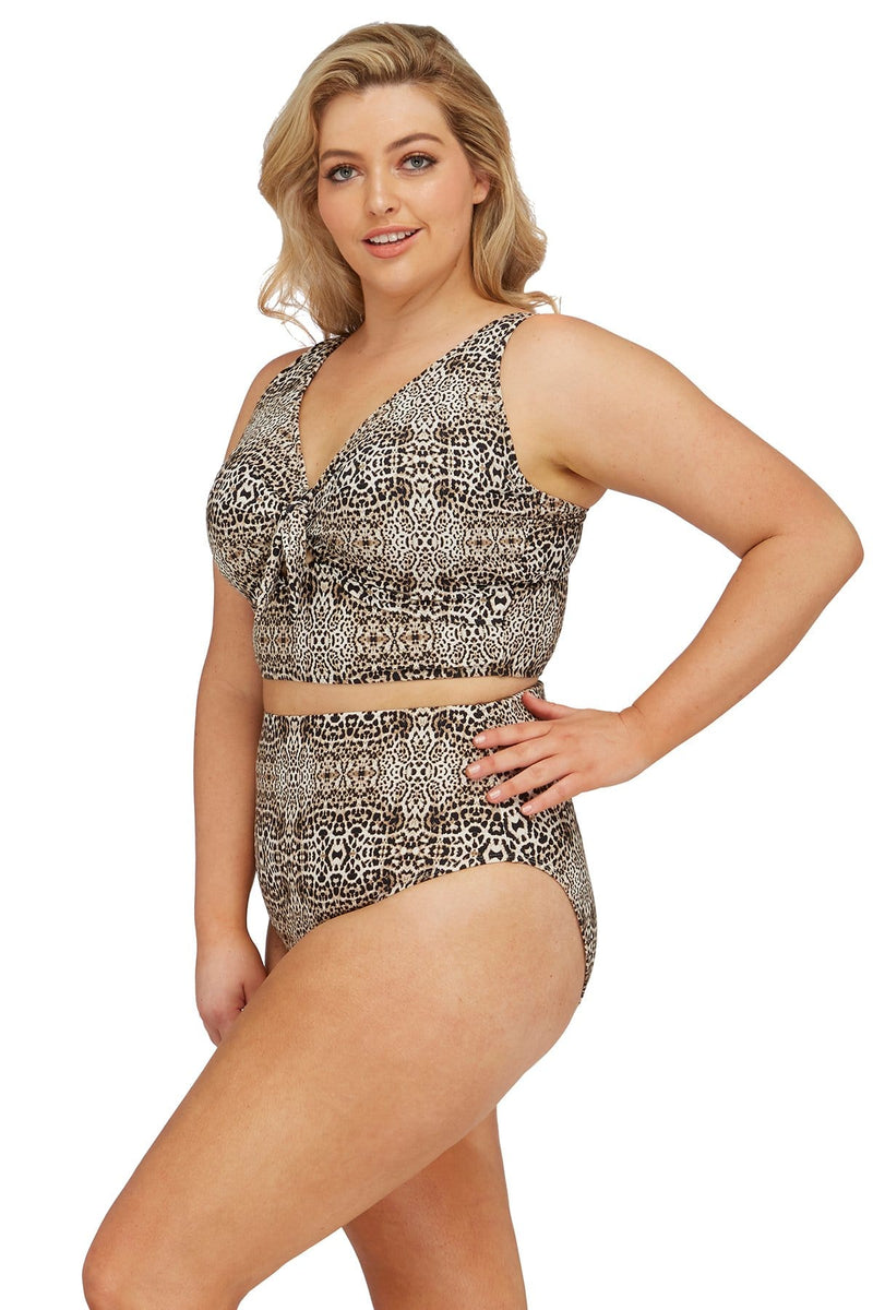 Artesands Bottom Leopard Hi Leg High Waist Swim Pant Plus Size Curvy