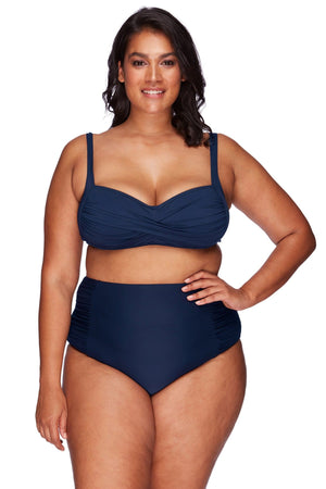 Artesands Bottom Navy Rouched Side High Waist Pant AT4705P-14 Navy Plus Size Curvy
