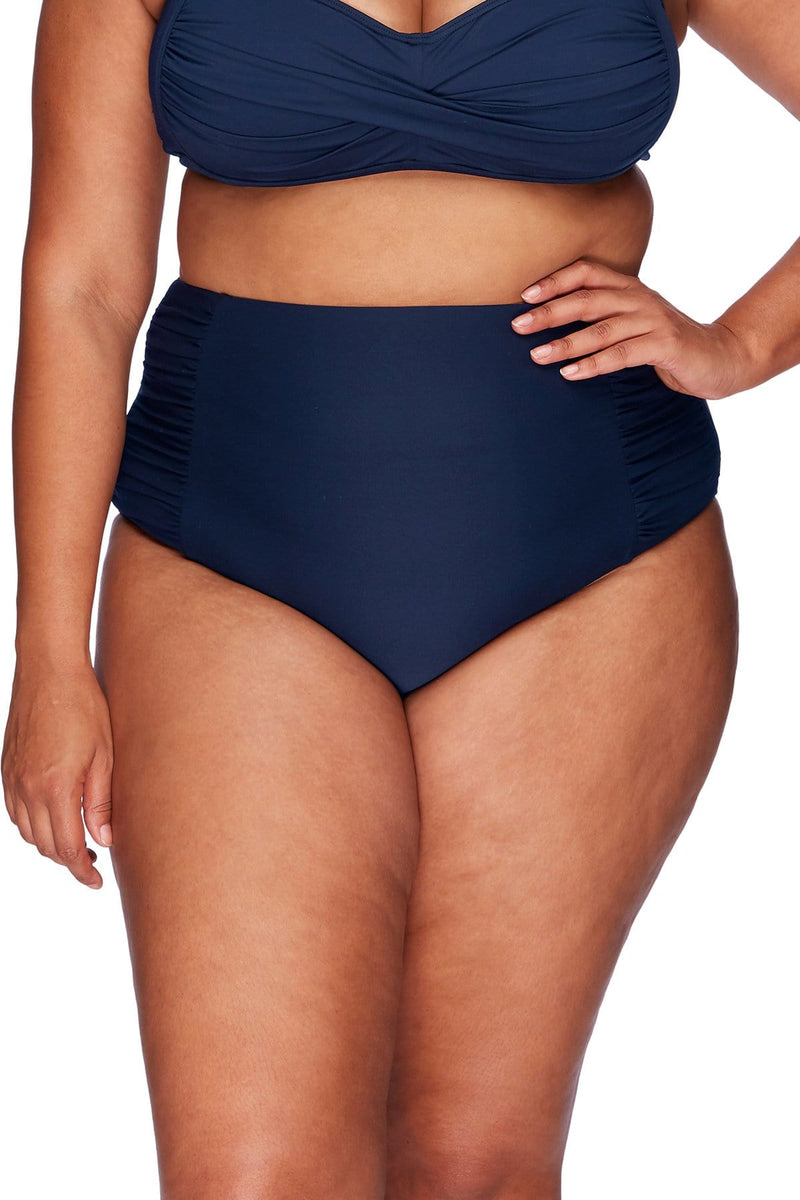Artesands Bottom Navy Rouched Side High Waist Pant Plus Size Curvy