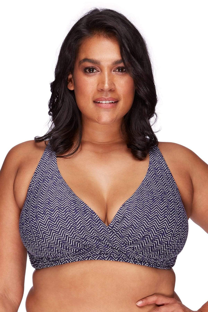 Artesands Plus Size Curvy Swimwear Zig Zag Navy Bikini Top