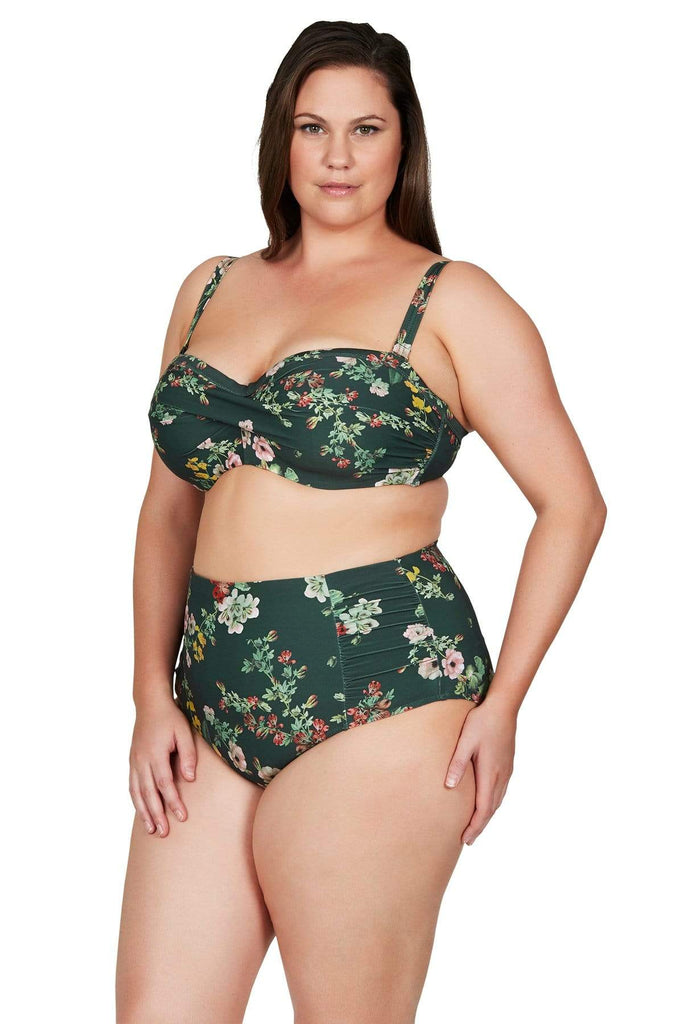 Artesands Plus Size Curvy Swimwear Neo Kimono Green Bandeau Bikini Top