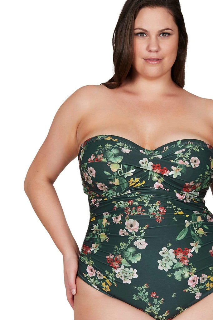 Artesands Plus Size Curvy Swimwear Neo Kimono Green One Piece