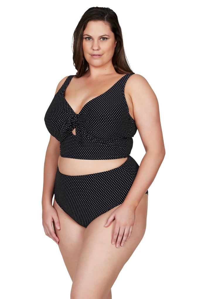 Artesands Bottom Black Polka Rococo Hi Leg High Waist Swim Pant Plus Size Curvy