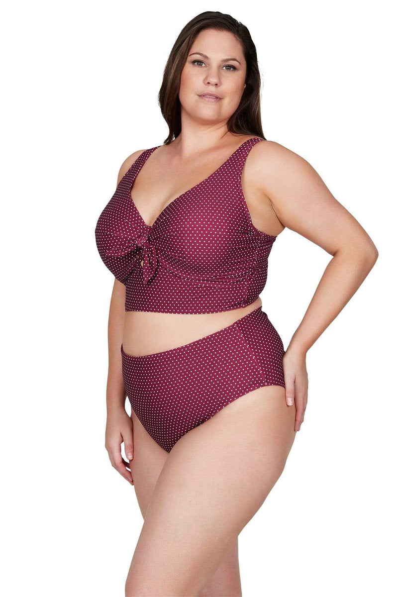 Artesands Bottom Syrah Polka Rococo Hi Leg High Waist Swim Pant Plus Size Curvy