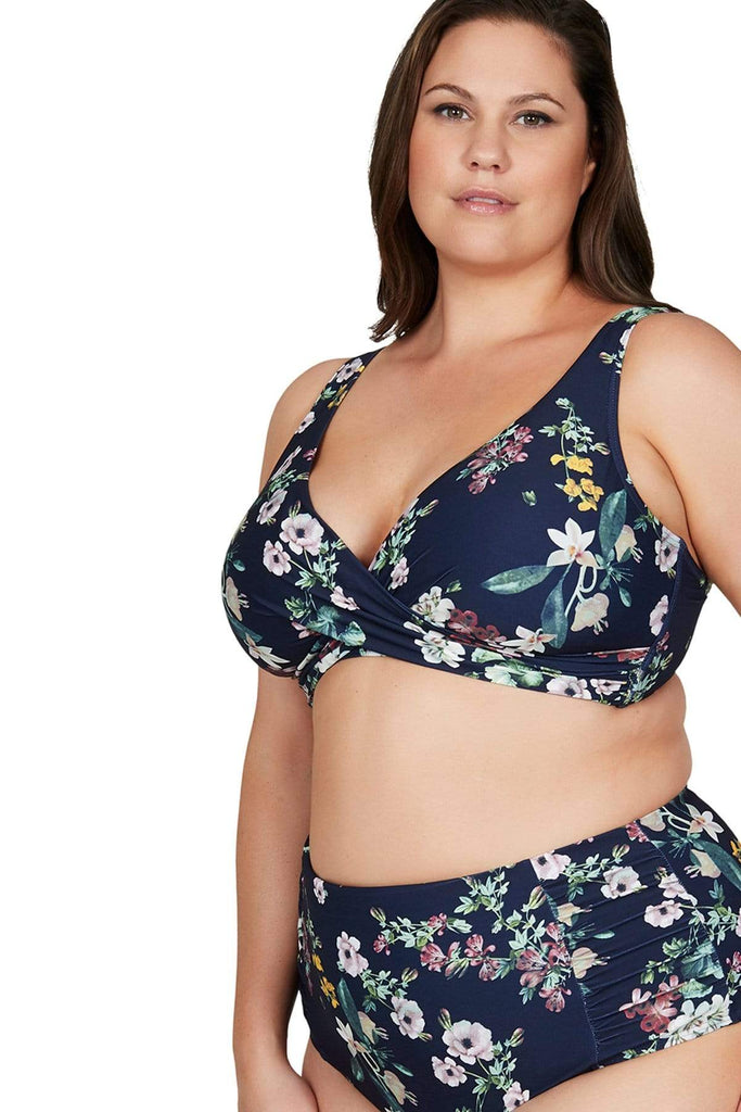 Artesands Plus Size Curvy Swimwear Neo Kimono Navy Bikini Top