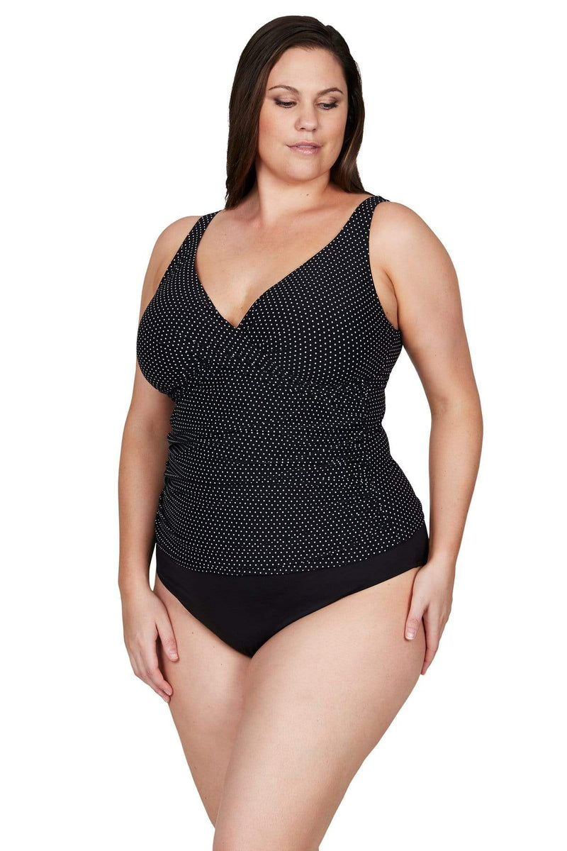 Artesands Top Black Polka Rococo Delacroix Tankini Top Plus Size Curvy