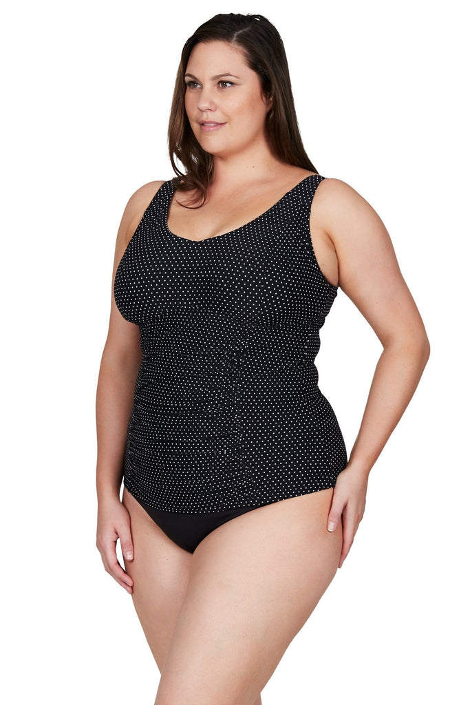 Artesands Top Black Polka Rococo Raphael E/F Underwire Tankini Top Plus Size Curvy