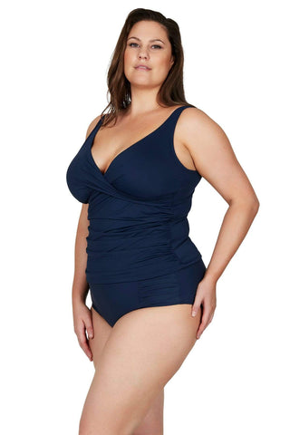 Artesands Plus Size Curvy Swimwear Hues Navy Tankini Top