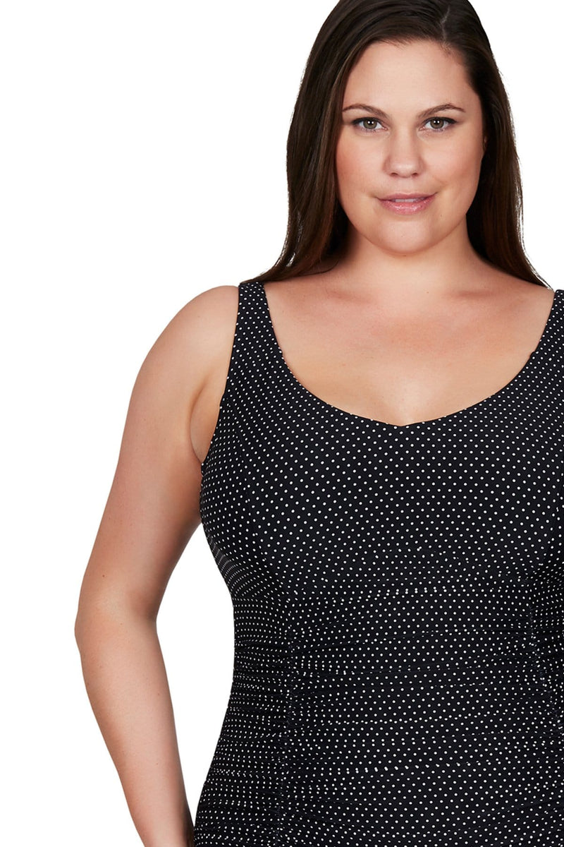 Artesands One Piece Black Polka Rococo Raphael E/F Underwire One Piece Plus Size Curvy