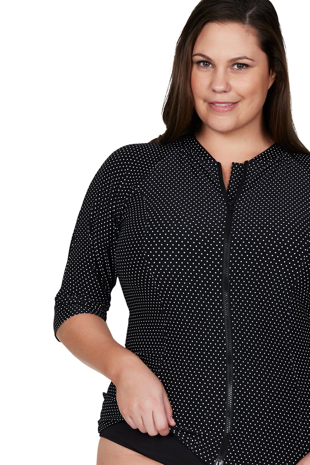 Artesands Top Black Polka Rococo Sunsafe Top Plus Size Curvy