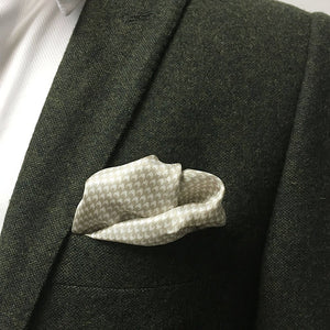 Beige Houndstooth/Dogtooth Silk Pocket Square - Red Stag and Hind