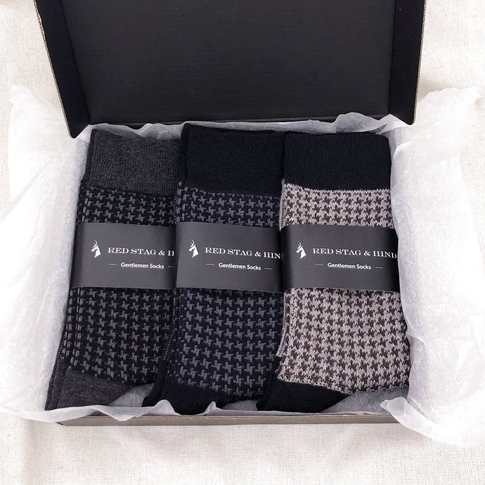 The Gentlemen Houndstooth Sock Box Set