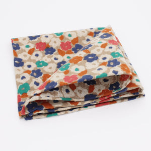 Multi-coloured Floral Cotton Pocket Square - Red Stag and Hind