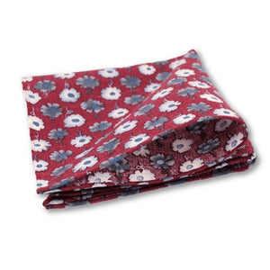 Red Floral Cotton/Linen Pocket Square - Red Stag and Hind