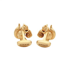 Matte Gold Squirrel Cufflinks - Red Stag and Hind