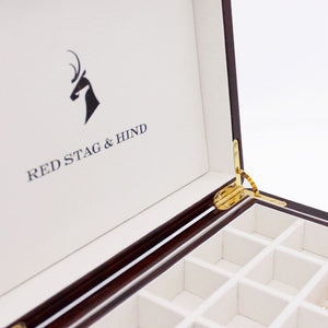 Personalised Camphor Burl Wood Cufflink Box - Red Stag and Hind