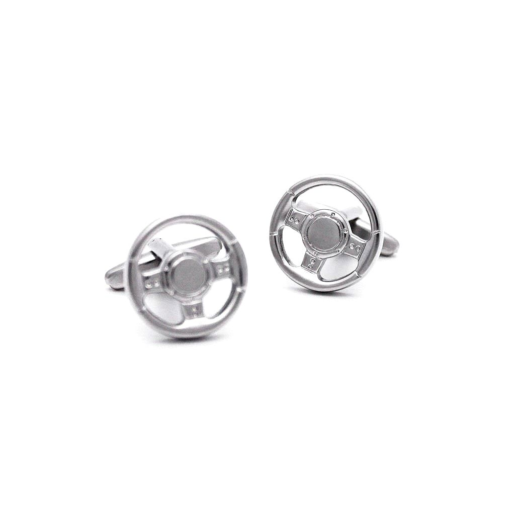Matte Silver Car Steering Wheel Cufflinks - Red Stag and Hind