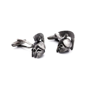 Roman Gladiator Battle Helmet Cufflinks - Red Stag and Hind