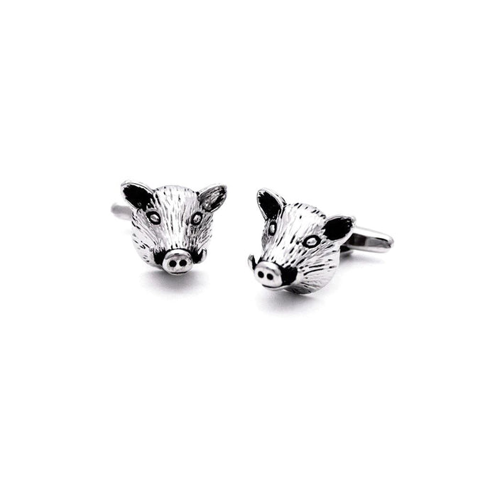 Rhodium Boar Head Cufflinks - Red Stag and Hind