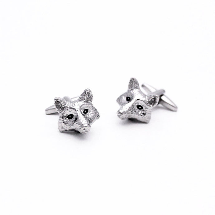 Rhodium Fox Head Cufflinks - Red Stag and Hind