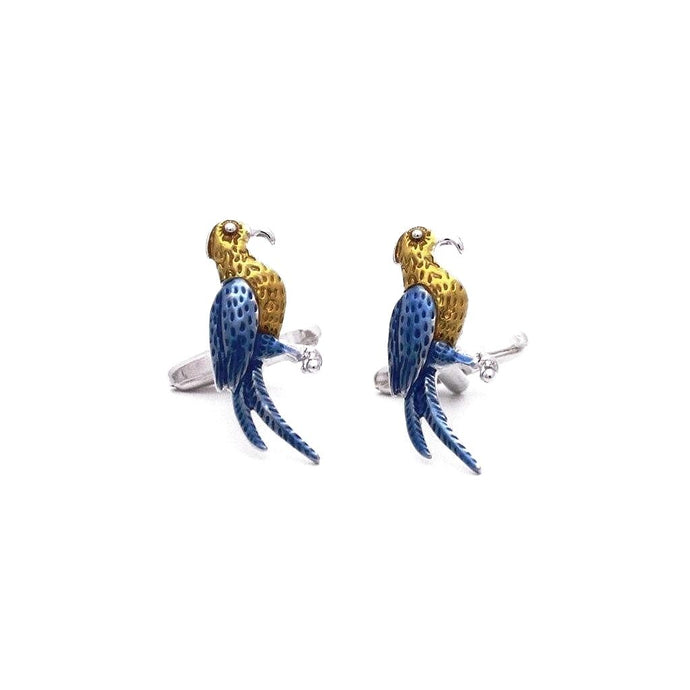 Enamel Parrot Cufflinks - Red Stag and Hind