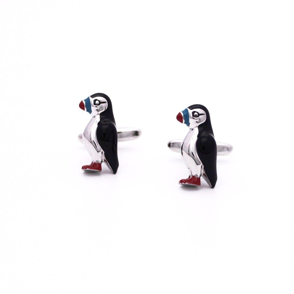Colourful Rhodium Puffin Cufflinks - Red Stag and Hind