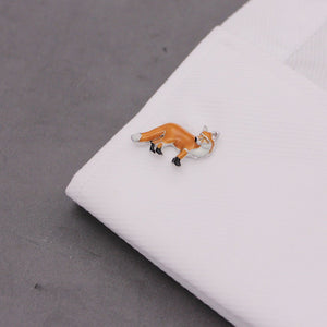 Rhodium Red Fox Cufflinks - Red Stag and Hind