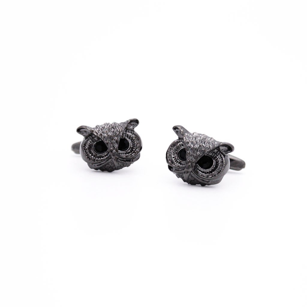Gunmetal Owl Head Cufflinks - Red Stag and Hind