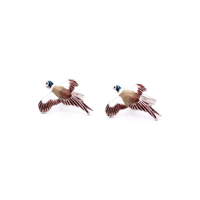 Rhodium Pheasant Cufflinks - Red Stag and Hind