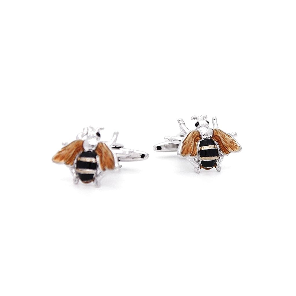 Rhodium Bumble Bee Cufflinks - Red Stag and Hind