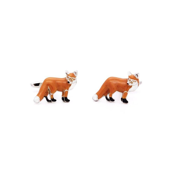 Rhodium Red Fox Cufflinks