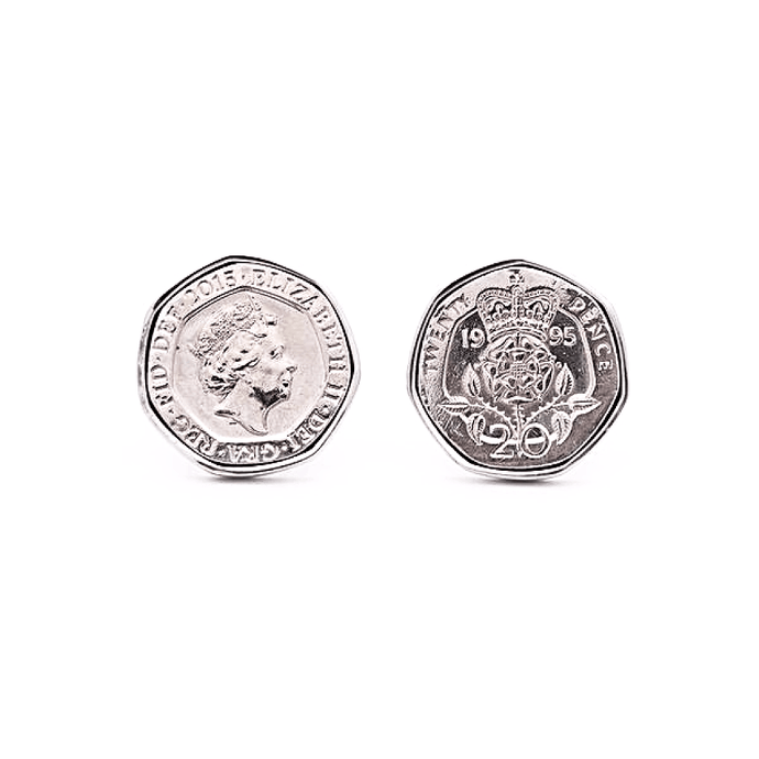 Rhodium Plated Heptagonal Twenty Pence British Coin Cufflinks - Red Stag and Hind