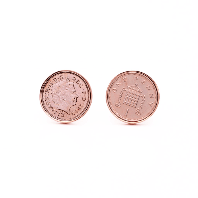 Rose Gold Rhodium Plated One Penny British Coin Cufflinks - Red Stag and Hind