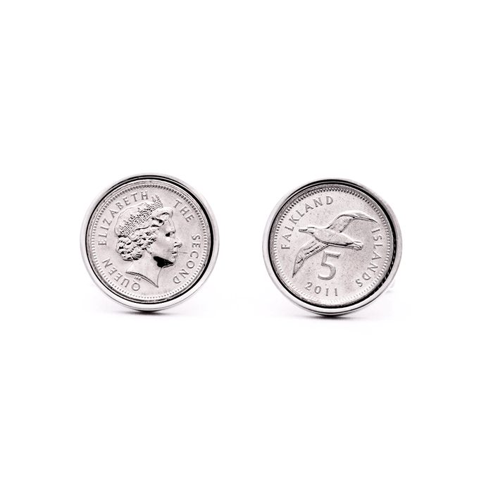 Rhodium Plated Falkland Islands 5 Pence British Coin Cufflinks - Red Stag and Hind
