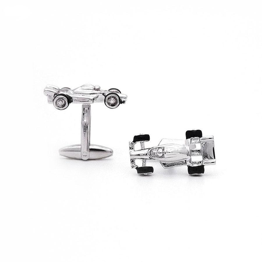 Silver Formula 1 Racing Car Cufflinks - Red Stag and Hind