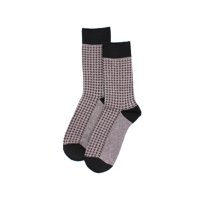 The Gentlemen Beige Houndstooth Socks