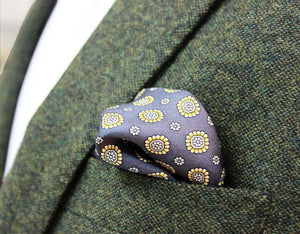 Yellow and Grey Floral Silk Pocket Square - Red Stag and Hind