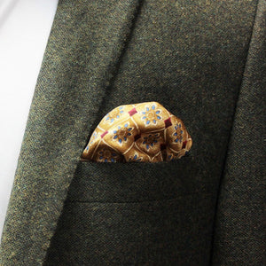 Navy and Gold Floral Silk Pocket Square - Red Stag and Hind