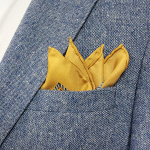 Amber/Yellow and Grey Floral Silk Pocket Square - Red Stag and Hind