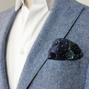 Navy Polka Dot and Sea Wave Silk Pocket Square - Red Stag and Hind