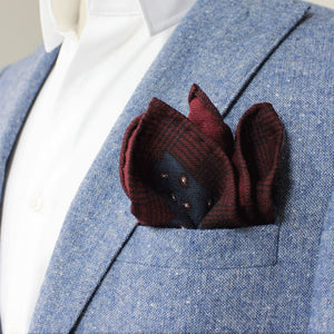 Red and Blue Paisley Wool Pocket Square - Red Stag and Hind